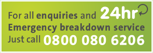 24hr Emergency breakdown service, just call 0800 080 6206